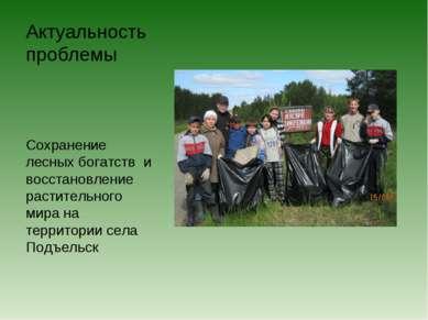 Актуальность проблемы Сохранение лесных богатств и восстановление растительно...