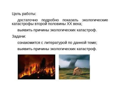 Цель работы: достаточно подробно показать экологические катастрофы второй пол...
