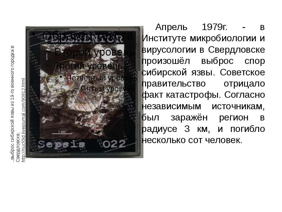 Апрель 1979г. - в Институте микробиологии и вирусологии в Свердловске произош...