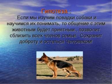 Гипотеза : Если мы изучим повадки собаки и научимся их понимать, то общение с...