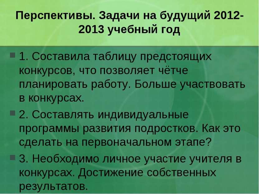 Перспективы. Задачи на будущий 2012-2013 учебный год 1. Составила таблицу пре...