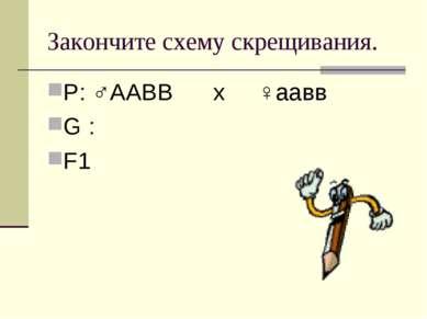 Закончите схему скрещивания. Р: ♂ААВВ х ♀аавв G : F1