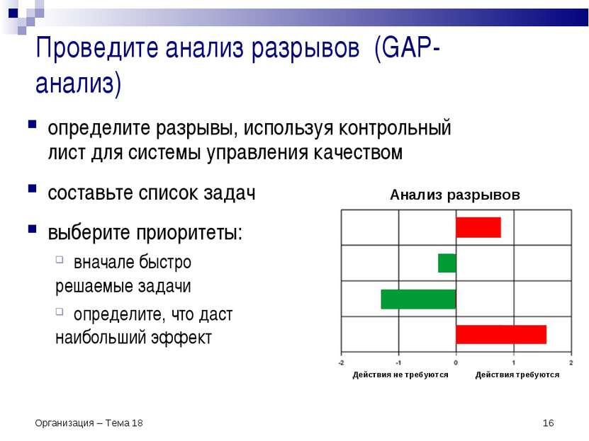 Проведите анализ разрывов (GAP-анализ) * Организация – Тема 18 Анализ разрыво...