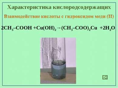 Характеристика кислородсодержащих 2СН3–СООН +Cu(OН)2→(СН3–СОО)2Cu +2H2O
