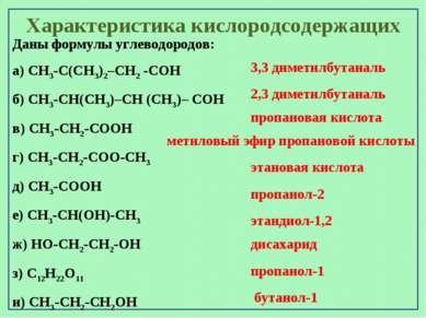 Характеристика кислородсодержащих Даны формулы углеводородов: а) CH3-C(CH3)2–...