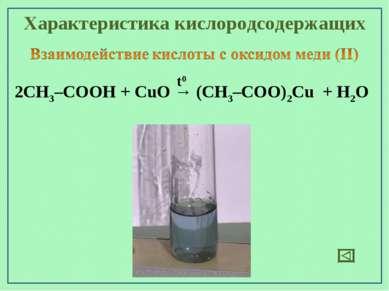 Характеристика кислородсодержащих 2СН3–СООН + CuO → (СН3–СОО)2Cu + H2O t0