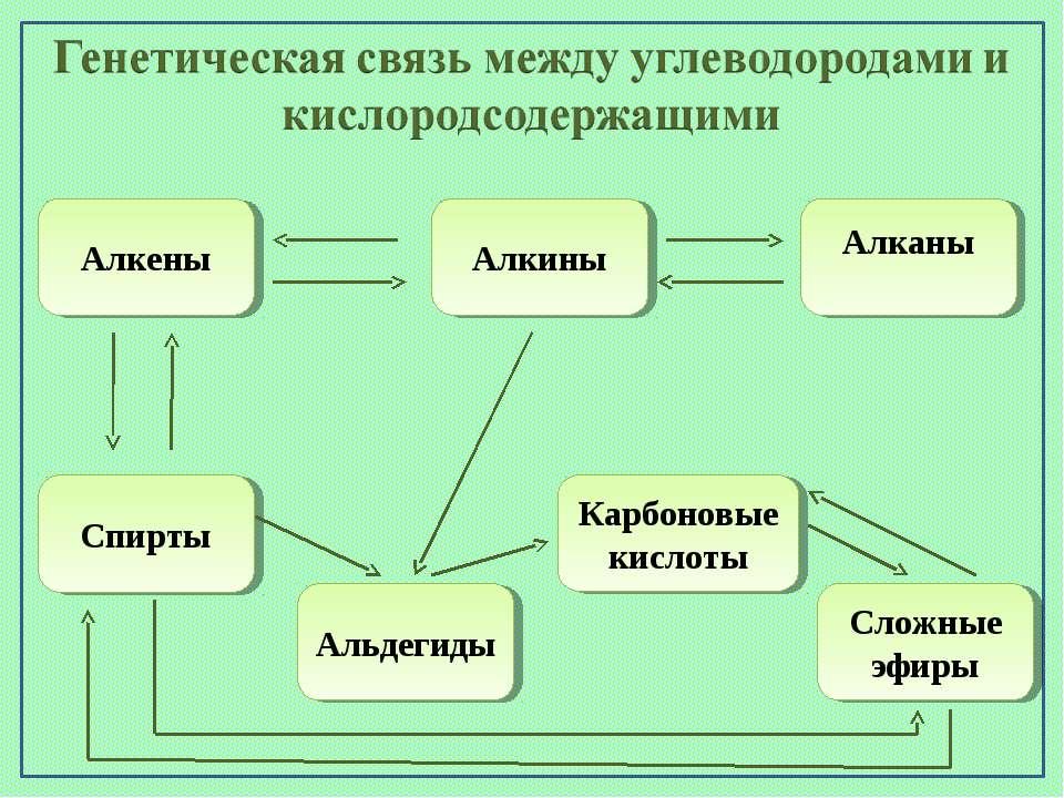 Алканы Алкены Алкины Сложные эфиры Карбоновые кислоты Альдегиды Спирты