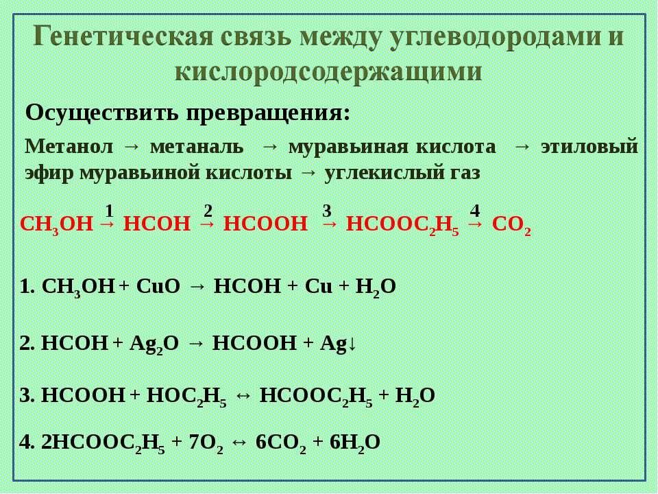 Осуществить превращения: Метанол → метаналь → муравьиная кислота → этиловый э...
