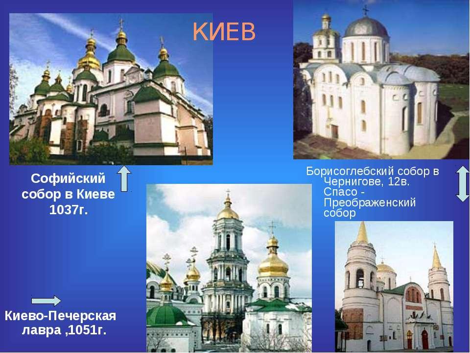 Софийский собор в Киеве 1037г. Киево-Печерская лавра ,1051г. Борисоглебский с...