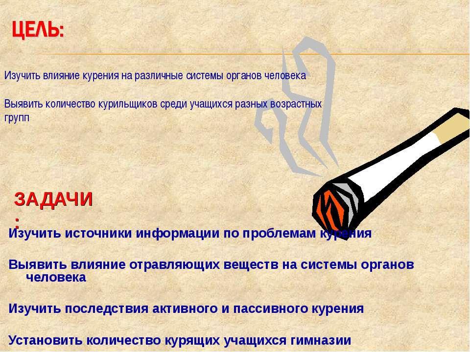 ЗАДАЧИ: Изучить источники информации по проблемам курения Выявить влияние отр...
