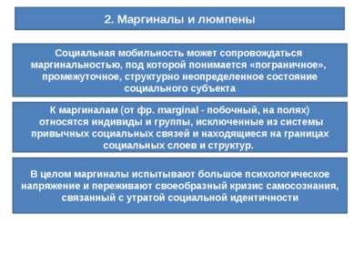 2. Маргиналы и люмпены Социальная мобильность может сопровождаться маргинальн...