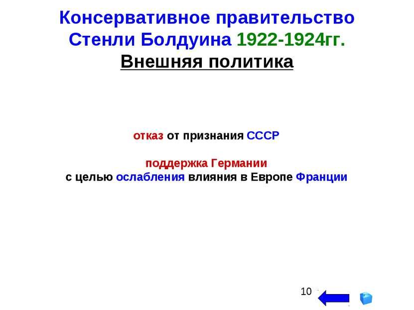 Консервативное правительство Стенли Болдуина 1922-1924гг. Внешняя политика от...