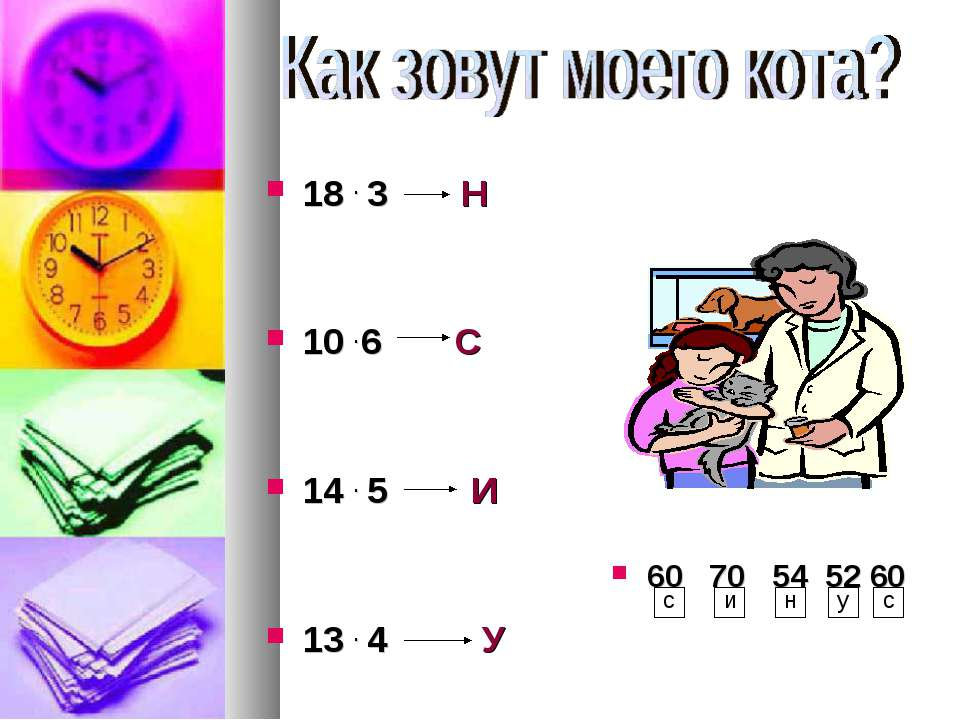 18 . 3 Н 10 . 6 С 14 . 5 И 13 . 4 У 60 70 54 52 60 с и н у с