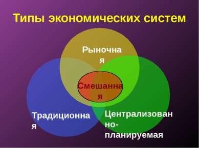 Типы экономических систем Традиционная Рыночная Централизованно-планируемая С...