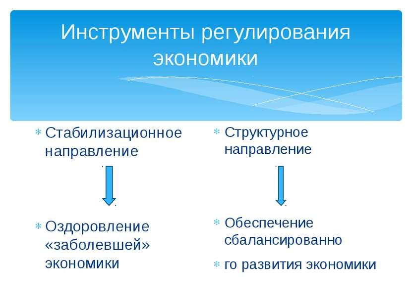 Инструменты регулирования экономики Стабилизационное направление Оздоровление...