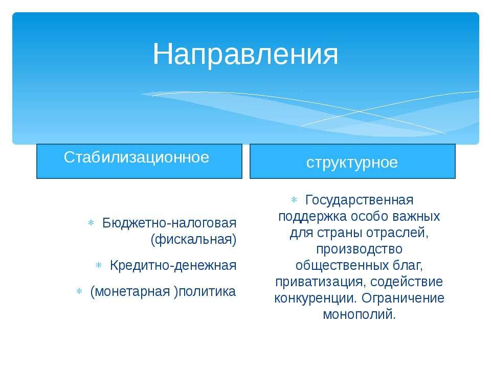 Направления Стабилизационное Бюджетно-налоговая (фискальная) Кредитно-денежна...