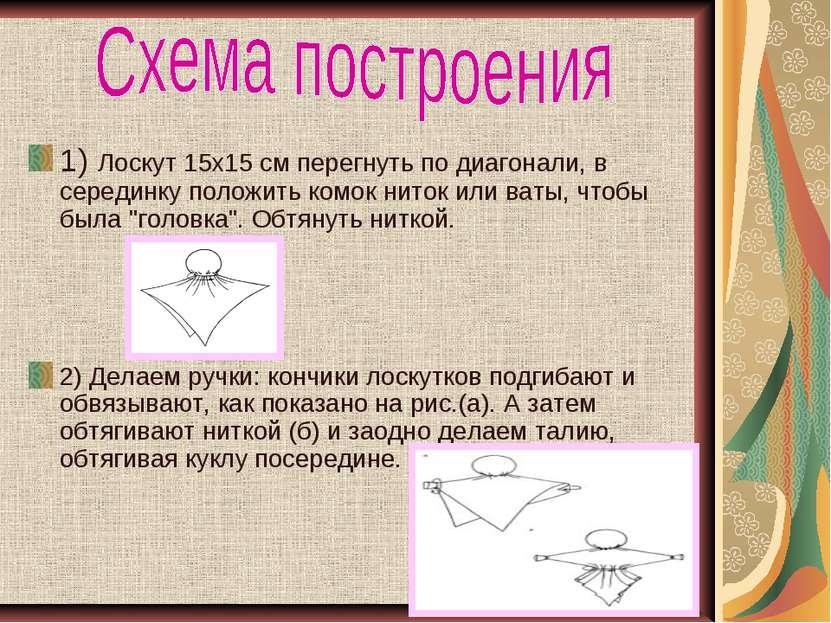 1)Лоскут 15х15 см перегнуть по диагонали, в серединку положить комок ниток и...