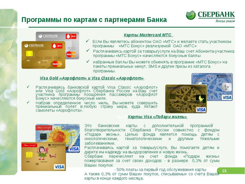 Программы по картам с партнерами Банка Карты Mastercard МТС Visa Gold «Аэрофл...