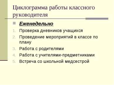 Циклограмма работы классного руководителя Еженедельно Проверка дневников учащ...