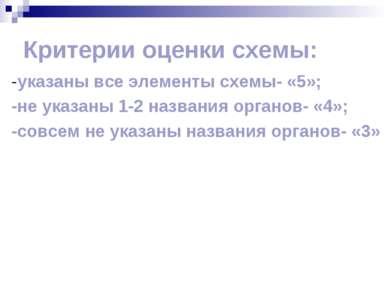 Критерии оценки схемы: -указаны все элементы схемы- «5»; -не указаны 1-2 назв...