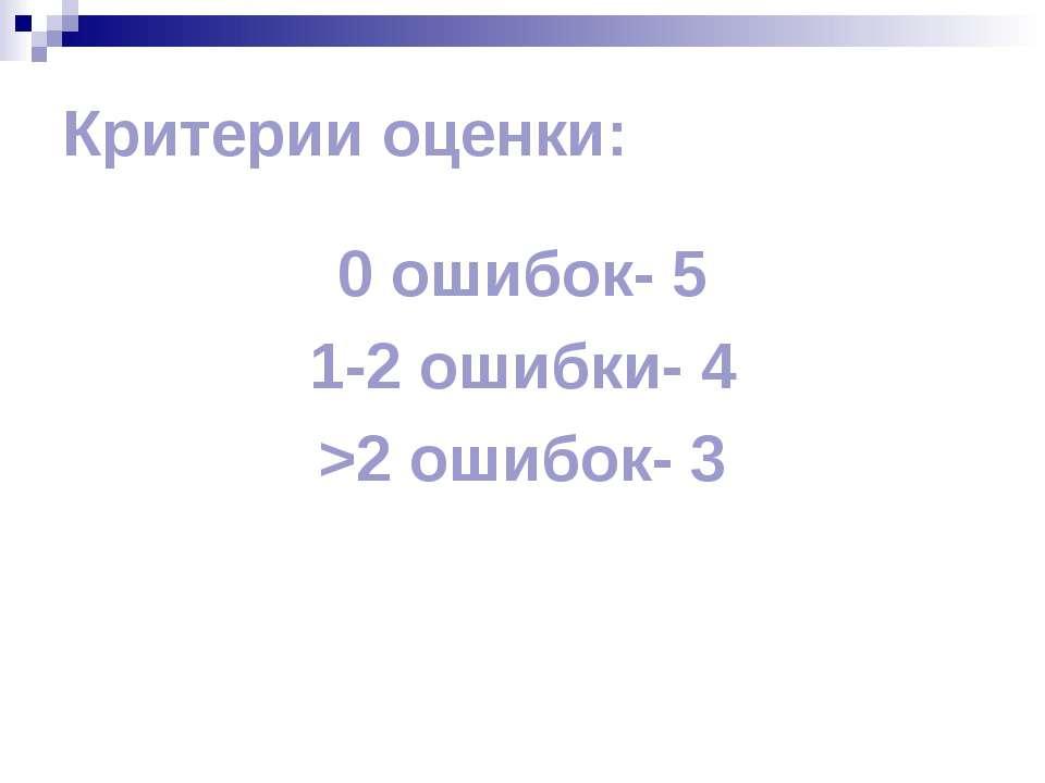 Критерии оценки: 0 ошибок- 5 1-2 ошибки- 4 >2 ошибок- 3