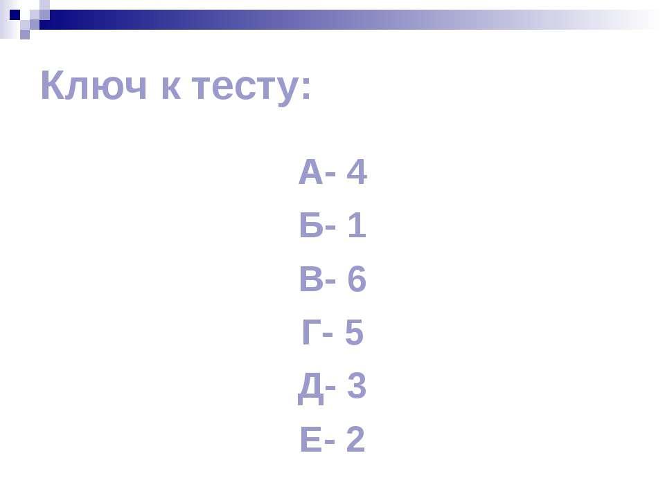 Ключ к тесту: А- 4 Б- 1 В- 6 Г- 5 Д- 3 Е- 2