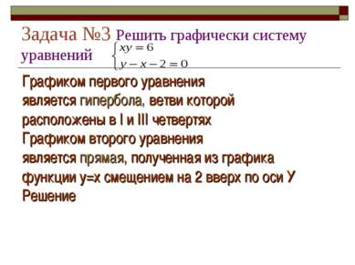 Задача №3 Решить графически систему уравнений Графиком первого уравнения явля...