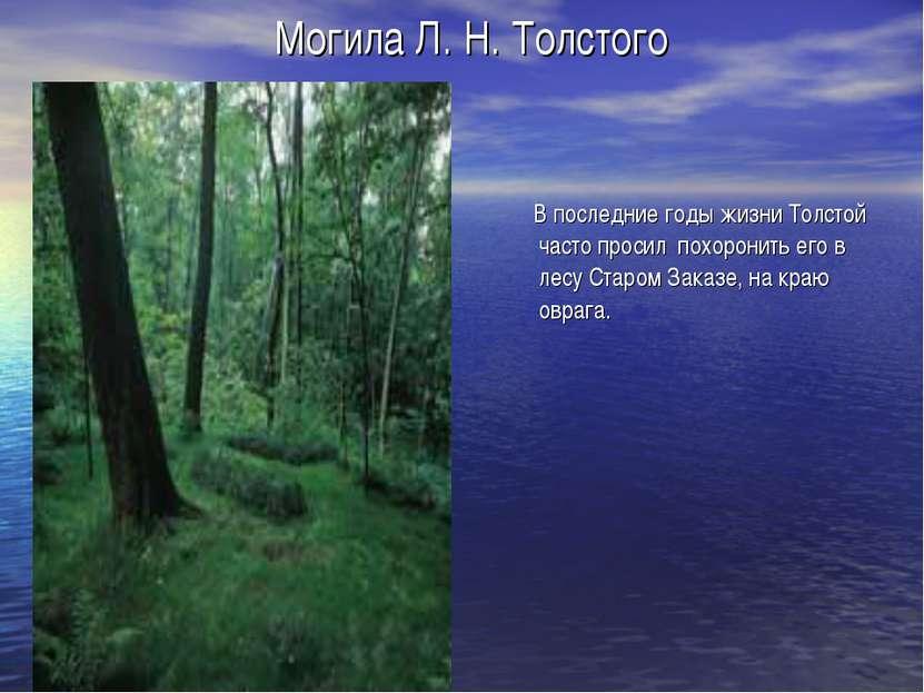 Могила Л. Н. Толстого В последние годы жизни Толстой часто просил похоронить ...