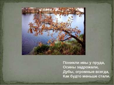 Поникли ивы у пруда, Осины задрожали, Дубы, огромные всегда, Как будто меньше...