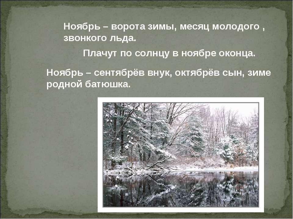 Ноябрь – ворота зимы, месяц молодого , звонкого льда. Плачут по солнцу в нояб...