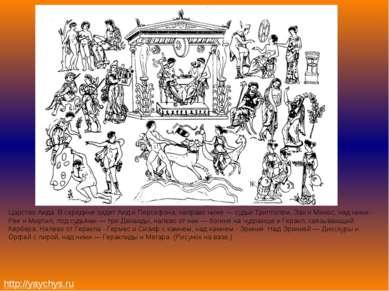 Царство Аида. В середине сидят Аид и Персефона, направо ниже — судьи Триптоле...