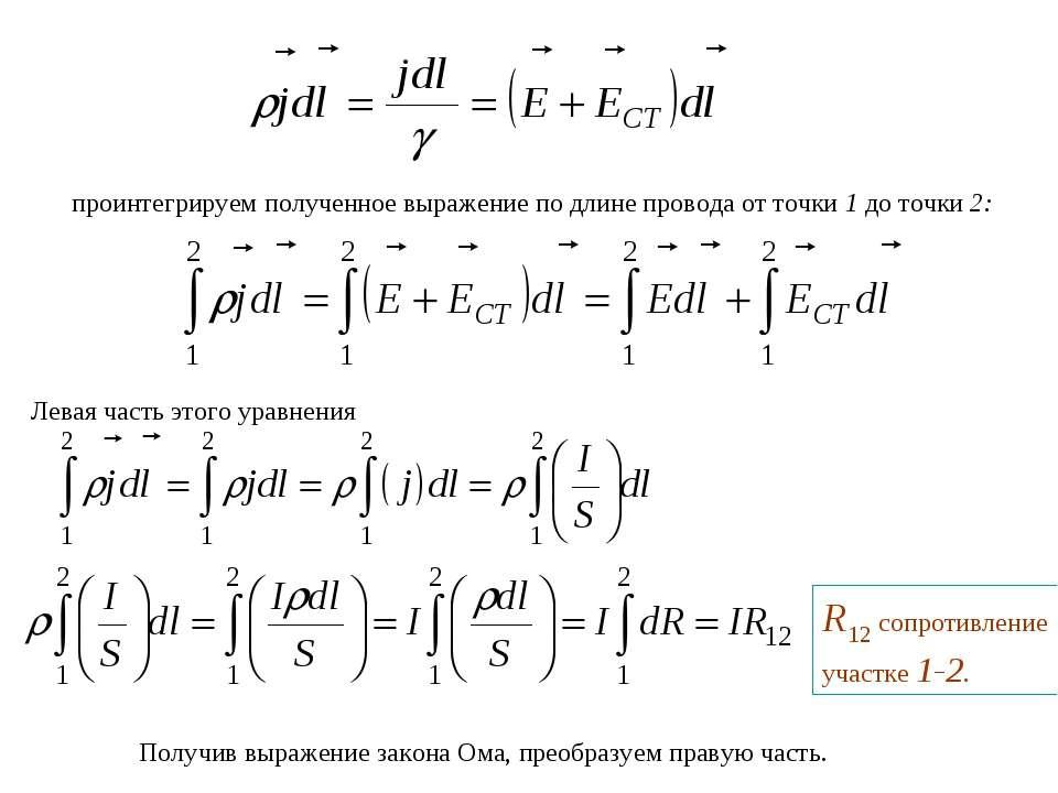 проинтегрируем полученное выражение по длине провода от точки 1 до точки 2: Л...