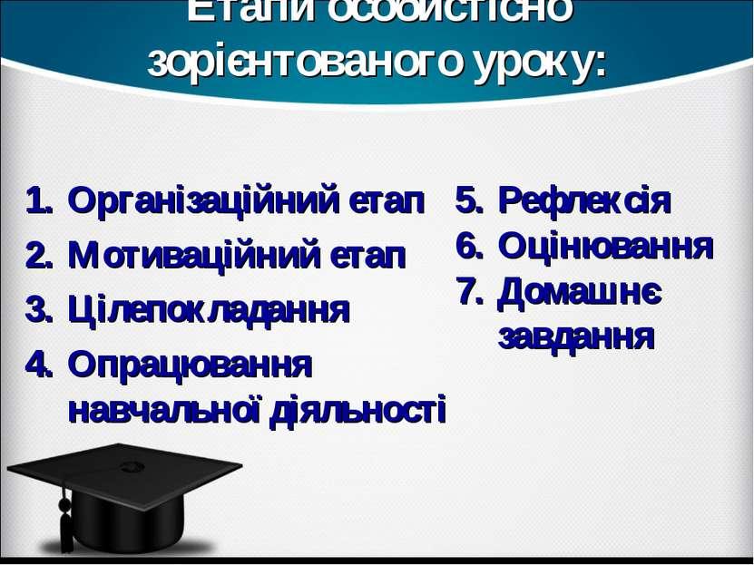 Етапи особистісно зорієнтованого уроку: Організаційний етап Мотиваційний етап...