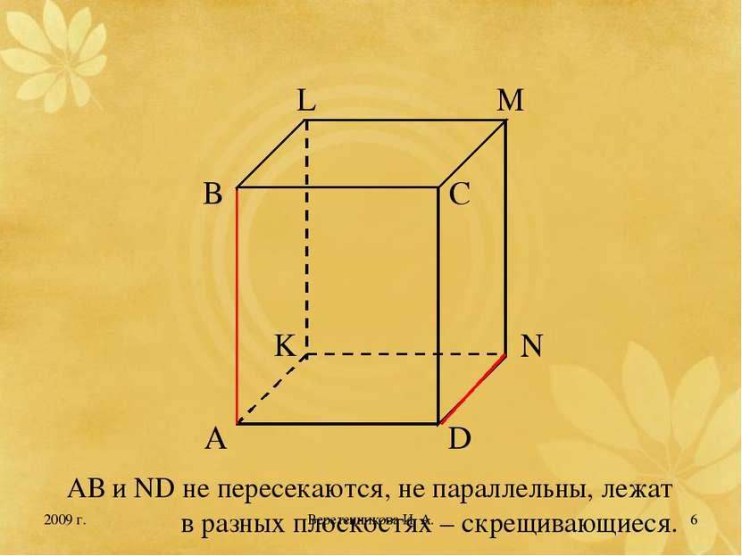 2009 г. * АВ и ND не пересекаются, не параллельны, лежат в разных плоскостях ...