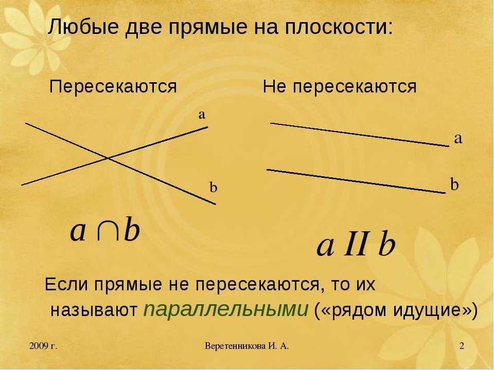 2009 г. * Любые две прямые на плоскости: Пересекаются Не пересекаются a b a b...