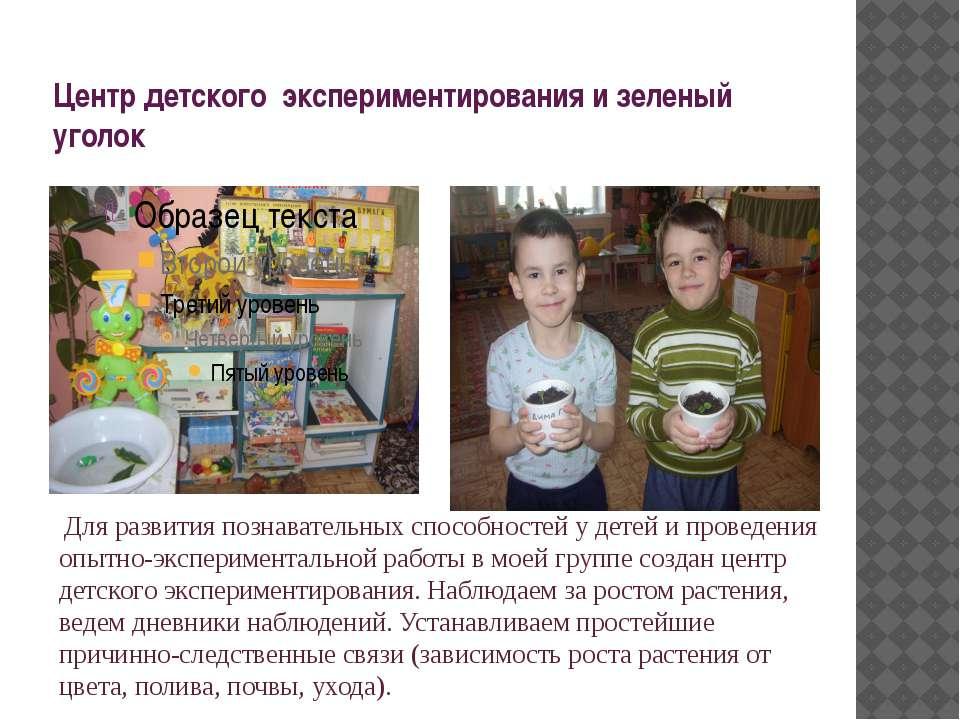 Центр детского экспериментирования и зеленый уголок Для развития познавательн...
