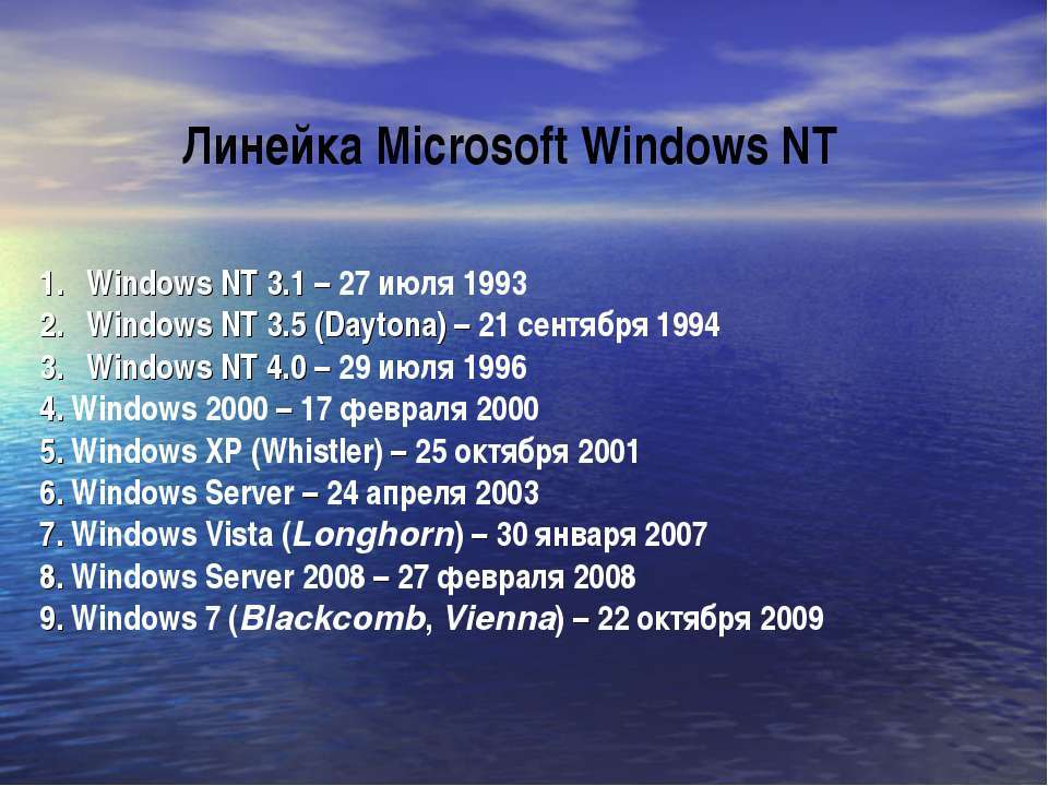 Windows NT 3.1 – 27 июля 1993 Windows NT 3.5 (Daytona) – 21 сентября 1994 Win...