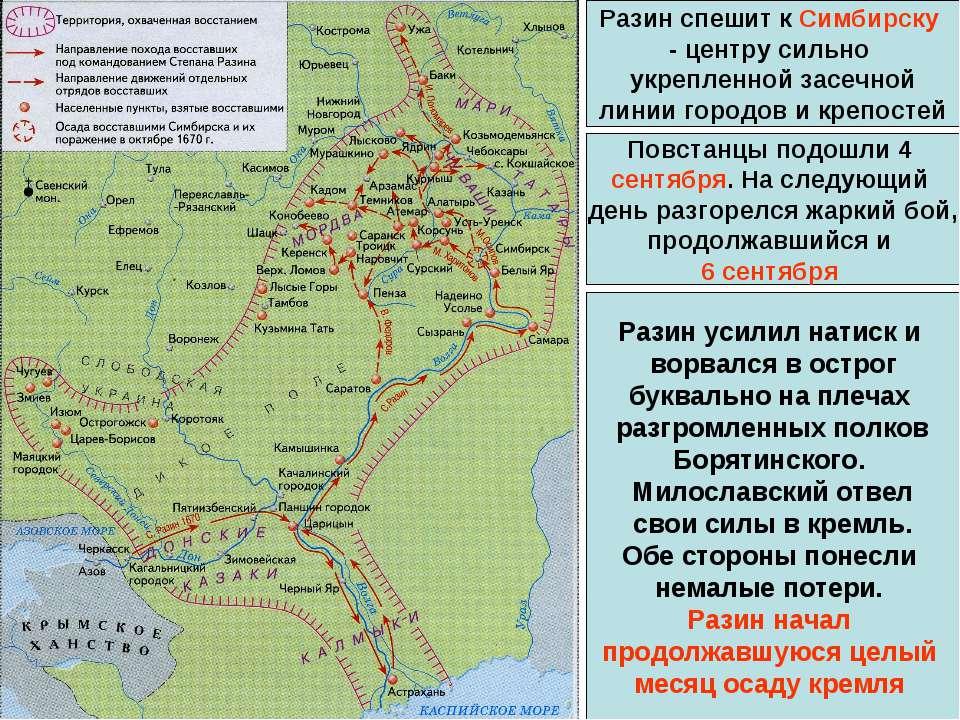 Разин спешит к Симбирску - центру сильно укрепленной засечной линии городов и...