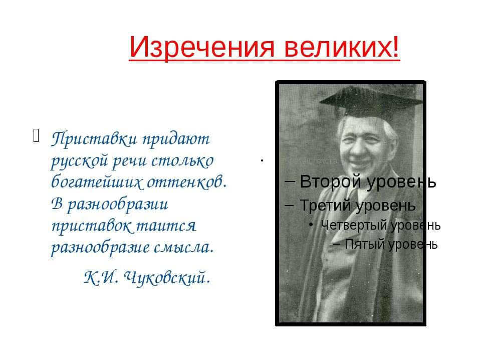 Изречения великих! Приставки придают русской речи столько богатейших оттенков...
