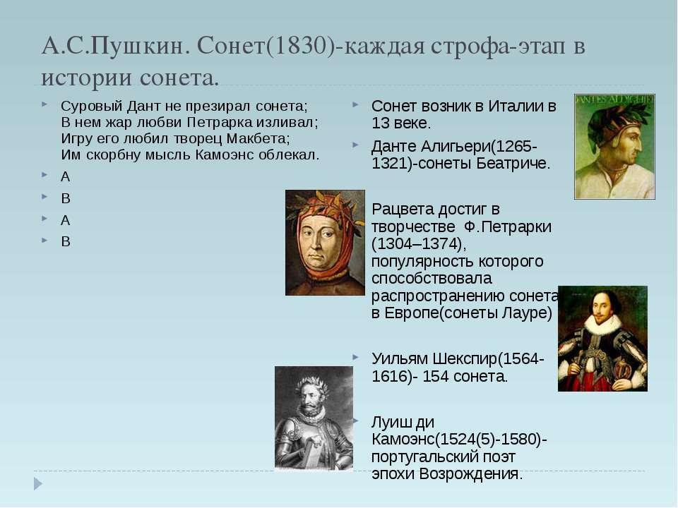 А.С.Пушкин. Сонет(1830)-каждая строфа-этап в истории сонета. Суровый Дант не ...