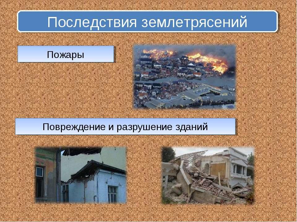 Последствия землетрясений Пожары Повреждение и разрушение зданий