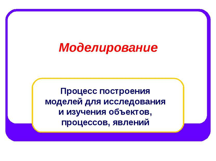 Моделирование Процесс построения моделей для исследования и изучения объектов...