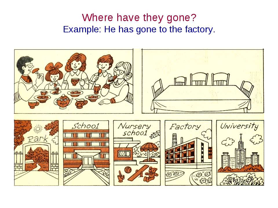 Where have they gone? Example: He has gone to the factory.
