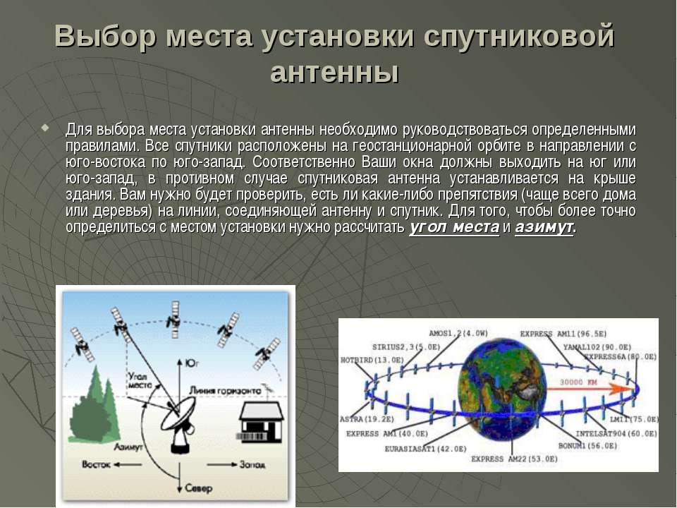 Выбор места установки спутниковой антенны Для выбора места установки антенны ...