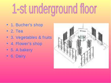 1. Bucher's shop 2. Tea 3. Vegetables & fruits 4. Flower's shop 5. A bakery 6...