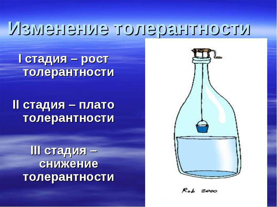 Изменение толерантности I стадия – рост толерантности II стадия – плато толер...