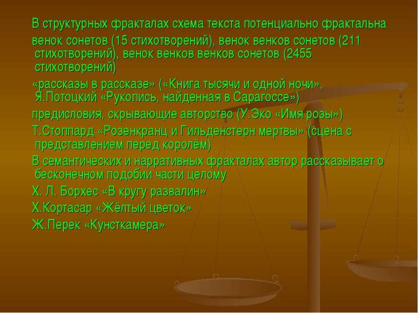 В структурных фракталах схема текста потенциально фрактальна венок сонетов (1...