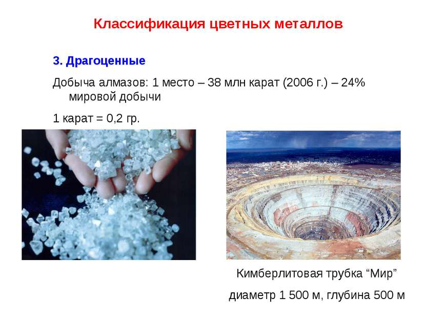 Классификация цветных металлов 3. Драгоценные Добыча алмазов: 1 место – 38 мл...