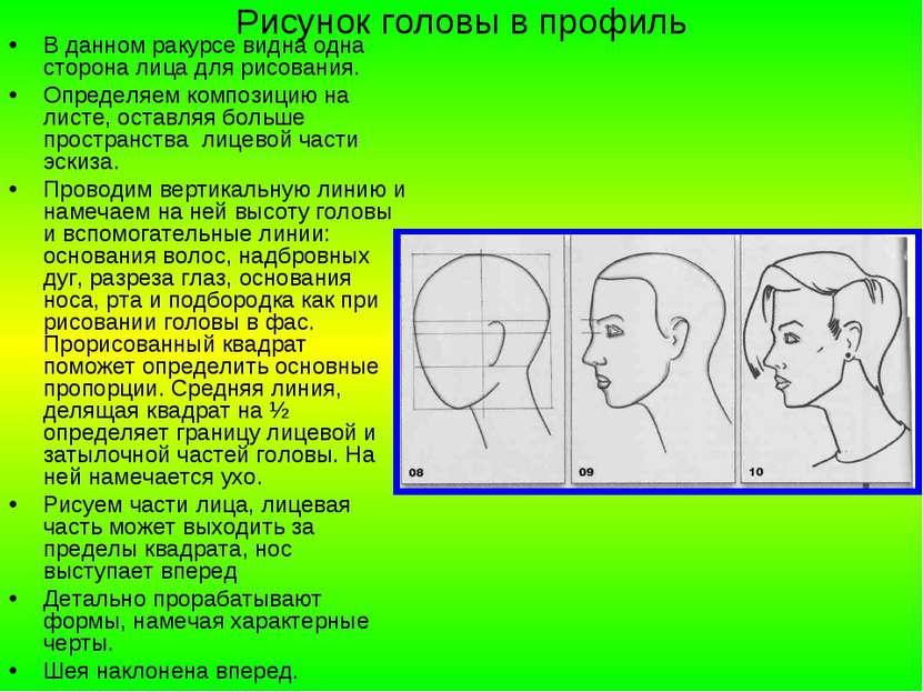 Рисунок головы в профиль В данном ракурсе видна одна сторона лица для рисован...