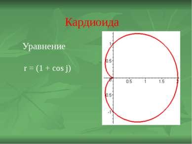 Кардиоида Уравнение r = (1 + cos j)